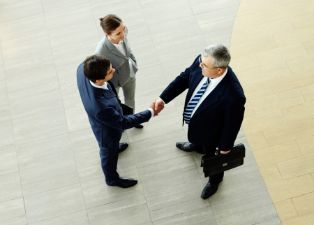 hands shaking: Two businessmen shaking hands indicating successfully made deal