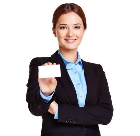 Portrait of young businesswoman showing blank card photo