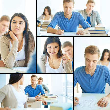 Collage of smart students carrying out test at lesson photo