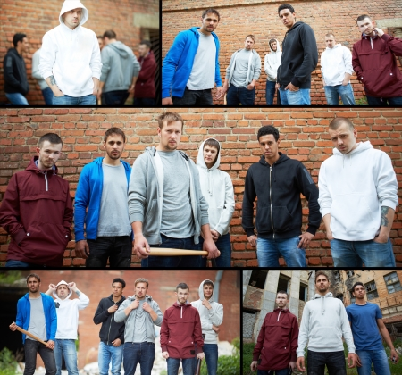 raperos: Collage de gamberros callejeros o raperos Foto de archivo