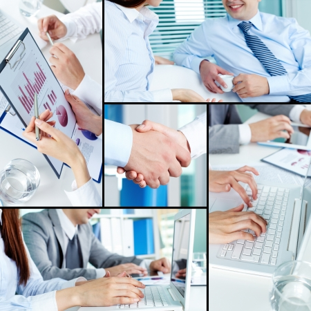 technology deal: Close-ups of business partners working with laptop and papers Stock Photo