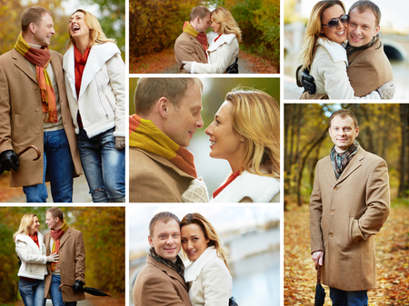 Portrait of affectionate couple taking a walk in autumnal park photo
