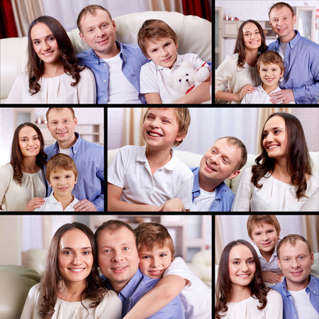 Collage of happy family with son relaxing at home Stock Photo - 22421634