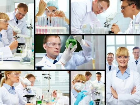 Group of clinicians experimenting with new substance in laboratory photo