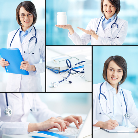 Collage of a friendly physician working in clinic photo
