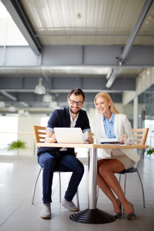 Two business people networking at meeting  Stock Photo