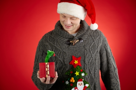 Portrait of happy man in Santa cap looking at toy snake in open giftbox Stock Photo - 22486136