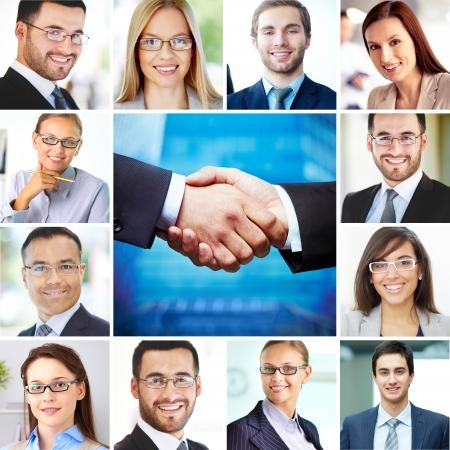 viso uomo: Collage di imprenditori e imprenditrici eleganti guardando la fotocamera con sorrisi e stretta di mano