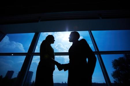integridad: Foto de exitoso hombre de negocios y empresaria apretón de manos después del reparto llamativo Foto de archivo