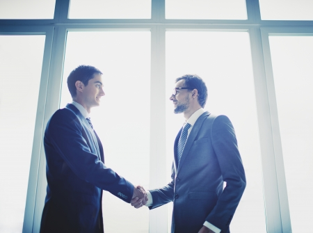 companion: Photo of successful businessmen handshaking after striking deal