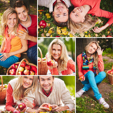 Collage of happy young people with ripe apples photo