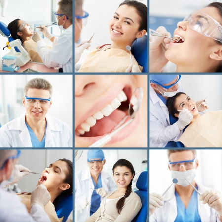 Collage of young girl at the dentist�s photo