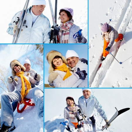 Collage of mature couple outside in winter photo