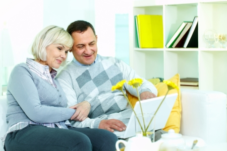 Portrait of mature man and his wife working with laptop at home Stock Photo - 24203818