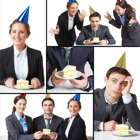 Collage of young business partners in birthday caps with piece of cake during celebration  photo