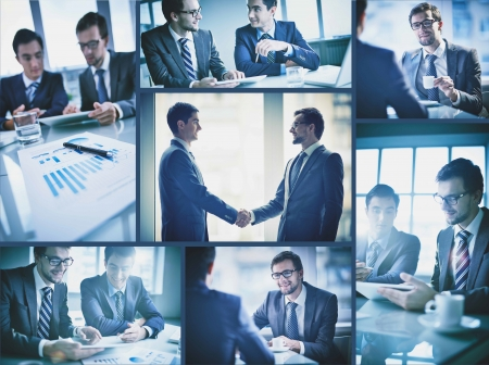 Collage of two young businessmen communicating at meeting Stock Photo