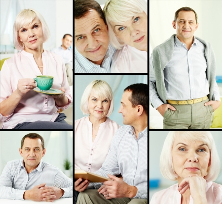 Mature man and his wife in casual clothes posing in front of camera Stock Photo - 24983085