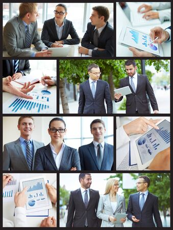 Collage of business partners working in office and outside Stock Photo