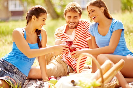 wine country: Happy young friends toasting with wine at picnic in the country