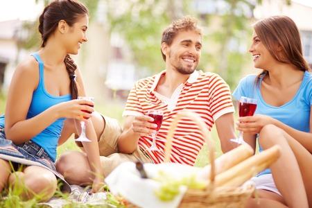 Gelukkig jonge vrienden drinken van rode wijn bij picknick in het land