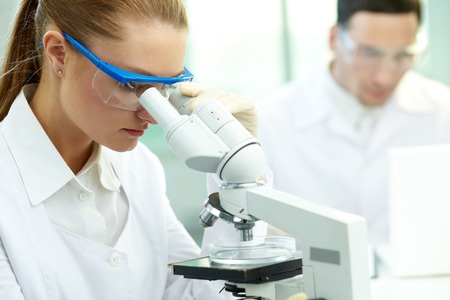 Serious clinician studying chemical element in laboratory Stock Photo - 27697353