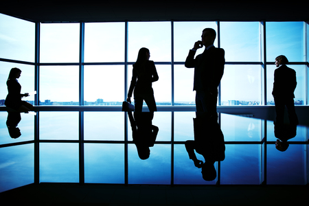 Silhouettes of several office workers working on background of window photo
