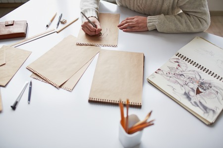 creative artist: Image of male hands drawing pictures