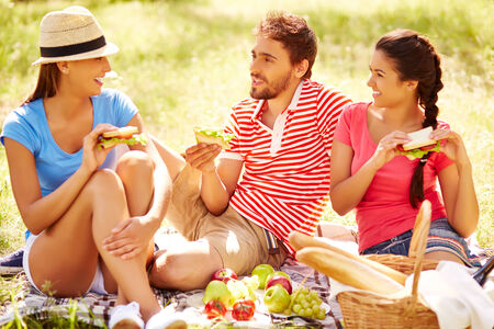 adult sandwich: Happy young friends having picnic in the country