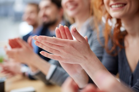 Great: Photo of business people hands applauding at conference Stock Photo