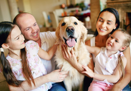 animals and pets: A young friendly family of four cuddling their pet Stock Photo