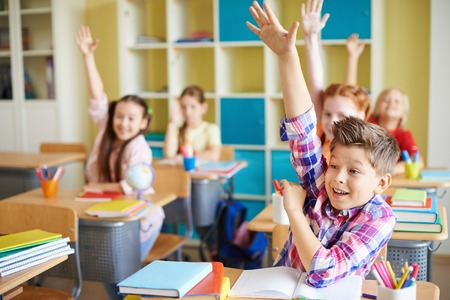 Portrait of cute boy raising hand at workplace with his classmates behind Archivio Fotografico