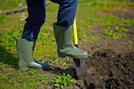 Image of male farmer digging in the garden Standard-Bild