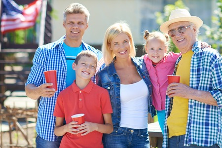 Big family of five spending tome outdoors