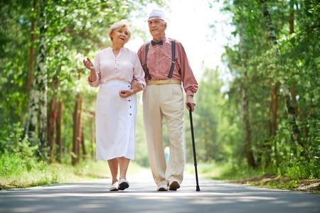 Senior pareja caminando en el parque Foto de archivo - 31233600
