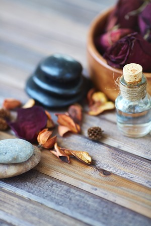 Beauty products on wooden surface  photo