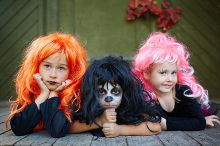 antichrist: Group of Halloween girls posing for camera Stock Photo