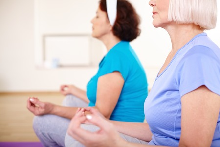 Close-up of aged females relaxing in sport club Stock Photo