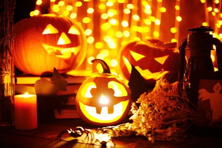 cucurbit: Jack-o-lanterns and other Halloween objects on sparkling
