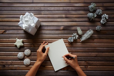 Female hands with pen over piece of paper with spice-cakes, decorative silver cones, giftbox and white toy star near by photo