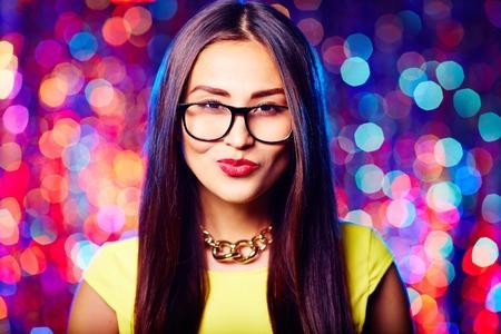 flirty: Flirty girl in eyeglasses