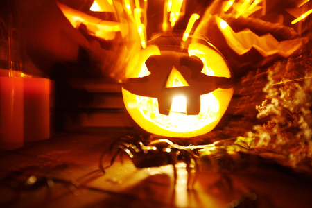 diabolic: Blurred image with Halloween pumpkins