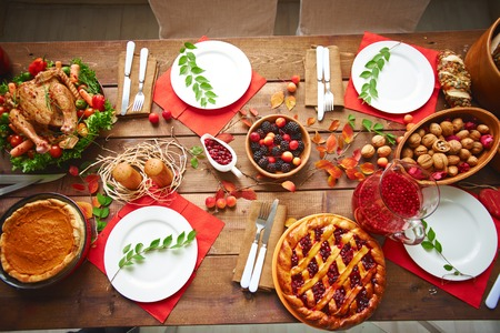 holiday meal: Lots of traditional festive food on wooden table