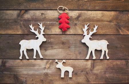 Christmas symbol made of wood and fabric photo