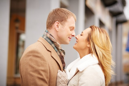 urban environment: Profiles of attractive and affectionate dates in urban environment Stock Photo