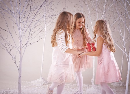 ragazze che ballano: Ragazze allegre sveglie che ballano in fata foresta di inverno Archivio Fotografico