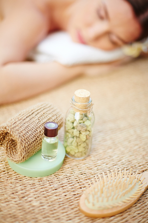 Cosmetic objects for body care Stock Photo