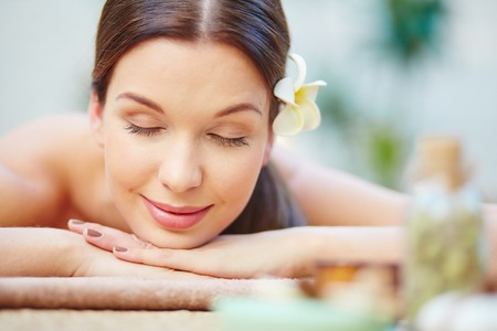 day spa: Serene girl relaxing and enjoying day spa