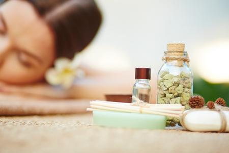 bodycare: Aromatic essence, sea salt, orange wood sticks and toilet soap for bodycare