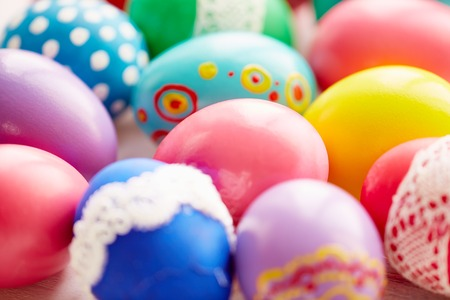 painted eggs: Variety of Easter painted eggs Stock Photo