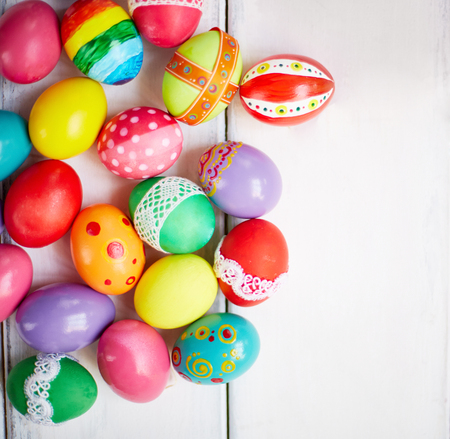 creatively: Creatively painted Easter eggs on white background Stock Photo